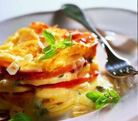 apfel kartoffel gratin mit blauschimmelkäse