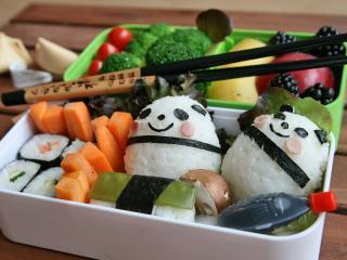 bento onigiri pandas mit sushi
