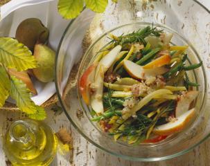 birnen bohnen speck salat