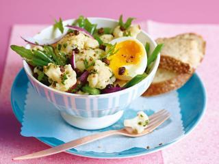 blumenkohl bohnen salat mit ei