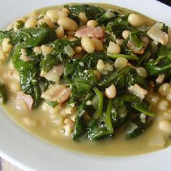 bohnen mit spinat und speck