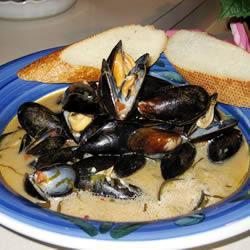 bretonische muscheln mit kräutern und crème fraîche