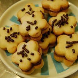 butterplätzchen mit schokoladendekor