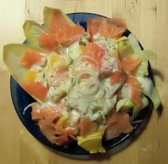 chicoree orangen salat mit lachs