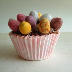 cupcakes mit schokolade und ostereiern