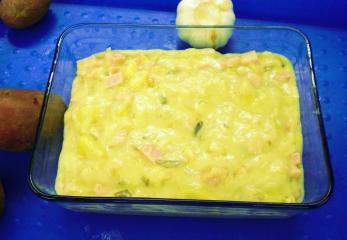curry kartoffel suppe mit gekochtem schinken
