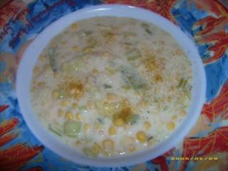 curry schmand suppe mit mais und lauch