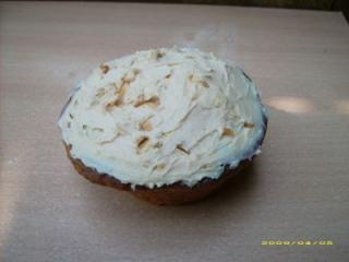 erdnussbutter cupcake mit erdnussbutter frischkäsehaube