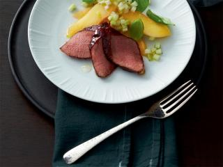 filet vom reh auf kohlrabi quitten salat