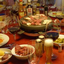 fondue mit mariniertem fleisch