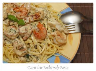 garnelen rotbarsch pasta