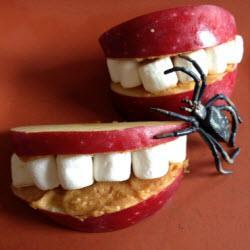 gesundes apfel gebiss halloween essen