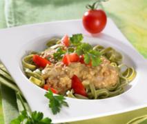 grüne nudeln mit linsen curry
