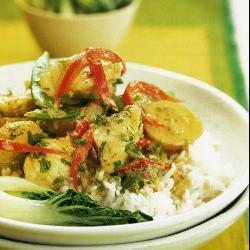 grünes thai curry mit seeteufel