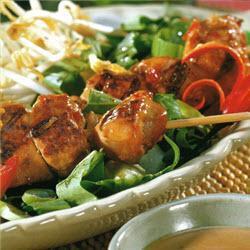 hähnchenbrustspieße auf asia salat mit erdnusssauce