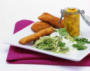 hähnchensticks mit joghurt kraut salat