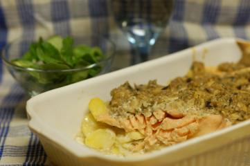 kartoffel lachs gratin mit champignon rahm