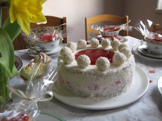 kokos himbeer torte