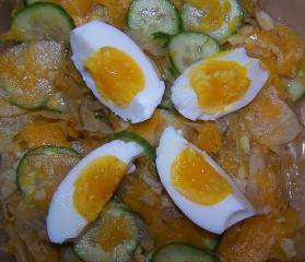 kürbis gurken salat mit ei