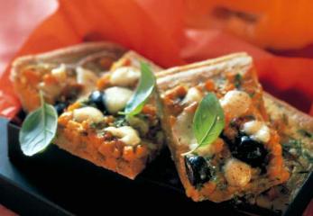 kürbiskuchen mit mozzarella