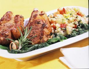 lammkoteletts mit graupen risotto