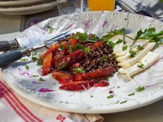 linsen zwetschgen salat mit feta