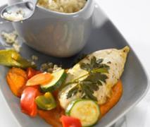 marinierte hähnchenbrust mit sommergemüse und cous