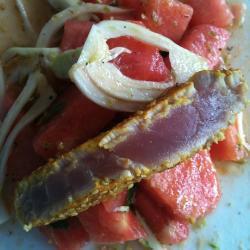melonen fenchel salat mit thunfisch filet