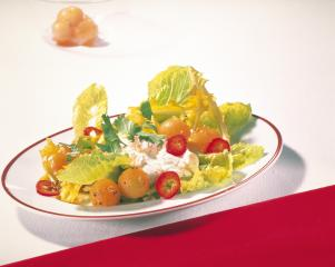 melonen romana salat mit quarkcreme
