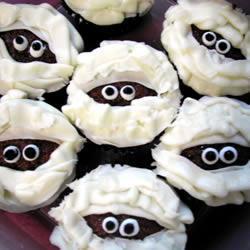 mumien muffins für halloween