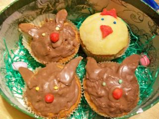 osterhasen und küken muffins