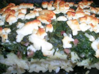 Pangasius auf reisbett mit spinat und feta überbacken