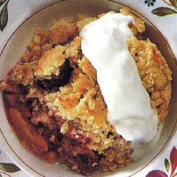 pfirsich himbeer crumble