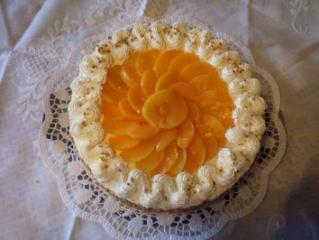 pfirsich torte mit maracuja haube