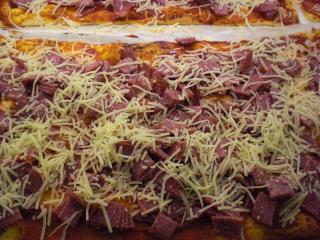 pizza mit putensalami