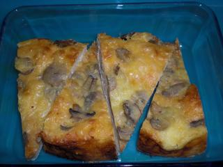 pizzabrot mit champignons