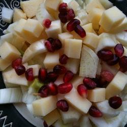 salat mit apfel käse fenchel und granatapfel