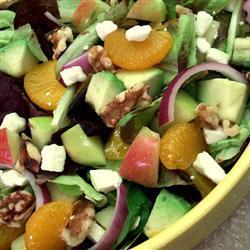 salat mit avocado apfel und mandarinendressing