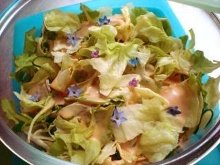salat mit borretschblüten und minzeblüten