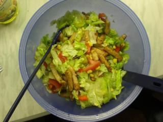salat mit gebratenen hähnchenstreifen
