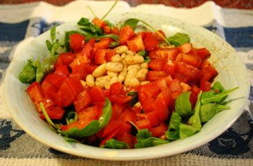 salatteller mit rucola und weißen bohnen