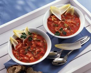 schnelle chicorée tomaten suppe