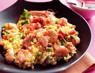 schnelle paella mit garnelen