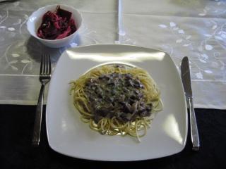 spaghetti mit champignonsoße