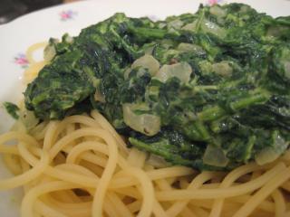 spaghetti mit spinat sahnesoße