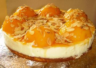 torta di panna cotta con pesca pfirsich sahne torte