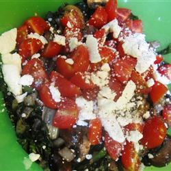 warmer salat mit mangold und pilzen