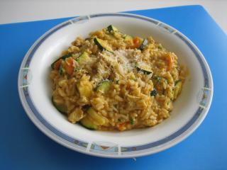 weißer fleisch gemüse risotto